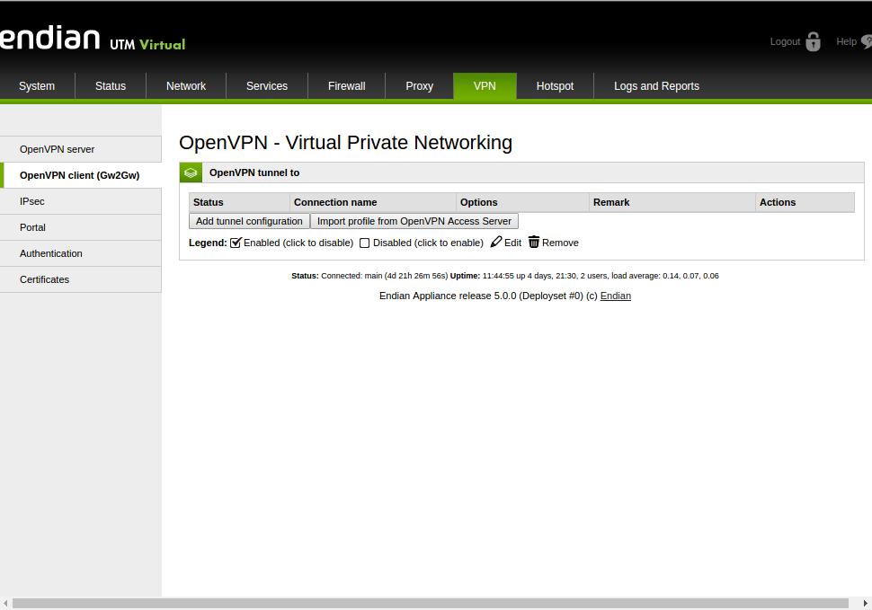 Set up an OpenVPN Net2Net Connection – Endian