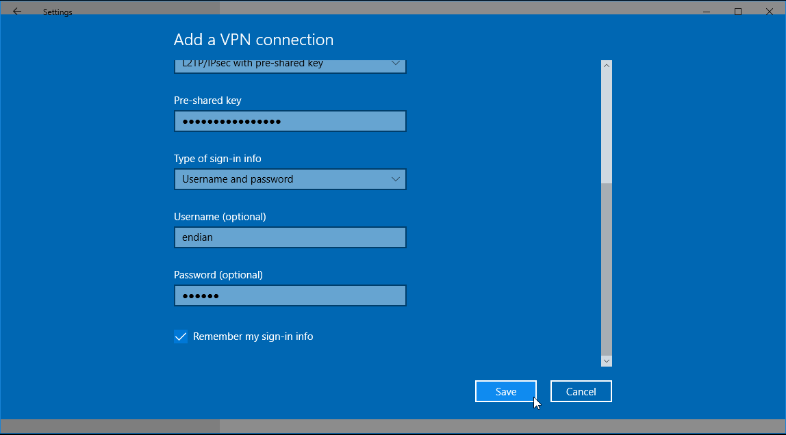 Connecting to an Endian UTM via L2TP (IPSec) using Windows